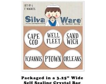 Cape Cod Towns Set of Six Magnets - Refrigerator Magnets - Cape Cod Souvenir Gifts Wellfleet, Sandwich, Provincetown, Hyannis, Orleans Pins