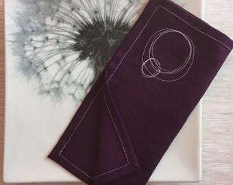 Cotton Napkins / Reusable Fabric Napkins / Eggplant Purple Cloth Napkins with Circle Scribbles