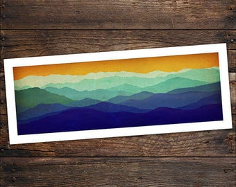 Mountain Memories Illustration - Smoky / Green - Mountains  Print on Archival Paper NOT CANVAS