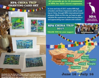 NPA Greeting Card Set, Fundraiser for NPA Student Trip Experience to China and Tibet Summer 2017 Thank You, Art by Buzz Parker, NonProfit