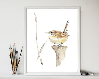 Carolina Wren No. 2 art print,  Wren  watercolor print,bird art, wren art, Bird lover, south Carolina state bird, nursery decor