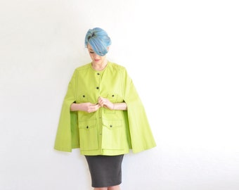 chartreuse mod safari cape coat . pockets galore . african trek chic .small.medium.large .sale