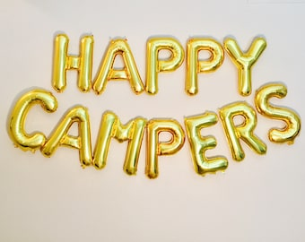 Happy Campers Balloons, Happy Campers, Summer Camp, Camping Party Theme, Smores Party, Happy Campers Banners, Smore Fun, Campers, Camp Fun