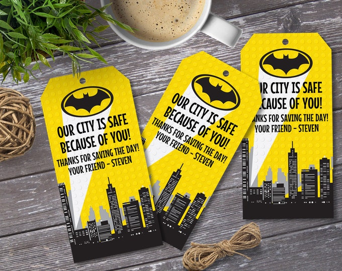 Superhero Party Favor Tag - Building Blocks Superhero Birthday, Superhero Party   Editable Text - DIY Instant Download PDF Printable