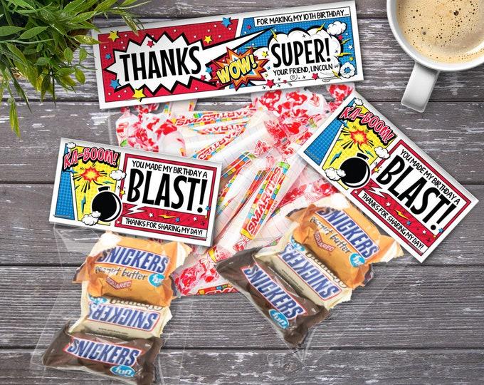 Superhero Treat Bag Topper - Superhero Party, Super Hero Favor Bag Topper | Editable Text- DIY Instant Download PDF Printable