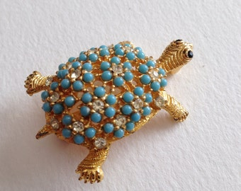 Jaunty Turtle Brooch Rhinestones Faux Turquoise Beads