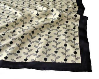 Silk Pocket Square / Floral Silk Pocket Square / Black Silk Pocket Square / Black Flower Silk Pocket Square / SAMPLE SALE