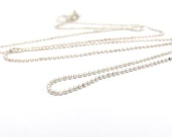 Vintage Silver Chain, Faceted Ball Chain, Vintage Sterling Silver Chain Necklace, 20 inch chain, Spring Clasp, 925 Sterling Silver Chain