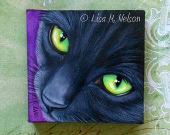 Black Cat Green Eyes Portrait Miniature Colored Pencil Original Fine Art with Easel