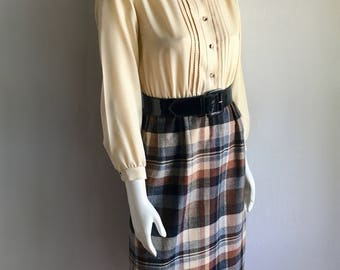 Vintage Women's 80's Plaid Dress, Long Sleeve, Knee Length (S)