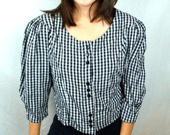 Cute Vintage 80s Byer Puffed Sleeve Button Up Black White Summer Top