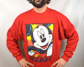 Vintage 90s Mickey Mouse Red Disney Sweatshirt