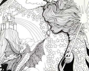 Vintage 80s Adult Coloring Page - Wizard, Dragon, Pegasus