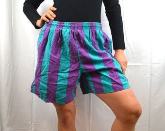 Vintage 80s Striped Purple Blue Islander Mens Summer Beach Shorts