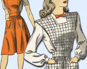 1940s Vintage Du Barry Sewing Pattern 5911 Uncut Misses Jumper Dress Size 16 34B
