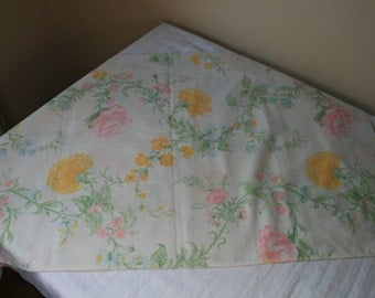 1960s Perma-Prest large floral standard pillowcase pinks and yellows