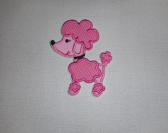 Free Shipping Ready to Ship Poodle  Machine Embroidery  iron on applique