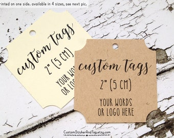 custom tags, square shape with cutout corners, personalized with your words or logo, custom favor tags, product tags, logo tags (T-100)