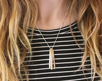 Mixed Metals Bar Necklace + Rose Gold Filled + Three Bar Vertical Necklace + Yellow Gold Filled + Silver Bar Necklace + Long Layering Names