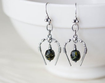 Unique Horseshoe Earrings, solid sterling silver, lucky horse shoe arc frame, green picasso Czech glass, Artisan silversmith metalwork
