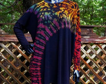 Tree of Life Long Sleeve Tunic, Long Sleeve Top, Loose Fittting Shirt, Plus Size Top, Tie Dye Tunic, Black Tunic