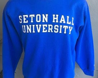 Seton Hall University 1980s vintage blue sweatshirt size large