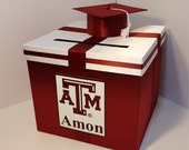 Graduation Card Box Burgundy and White Gift Card Box Money Box Holder--Customize your color (10x10x9)