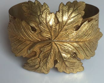 Haskell Style Leaf Motif Russian Gold Plate Cuff