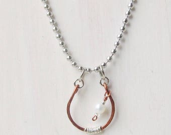 Horseshoe Necklace Pearl Horseshoe Pendant Mixed Metal Necklace Copper and Pearl Necklace