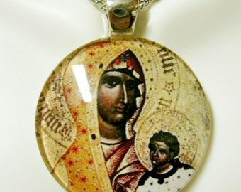Black madonna and child glass pendant with chain - GP14-009