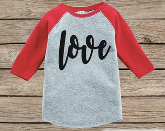 Kids Valentines Outfit - Black Love Script Valentine's Day Shirt or Onepiece - Boy or Girl Valentine Shirt - Baby, Toddler, Youth - Red