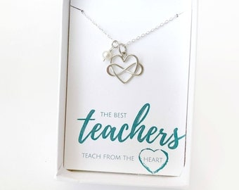 Teacher Thank You Gift from Students - Best Teacher - End of School Year Gift - Teacher Necklace - Teacher Retirement Gift - Principal Gift