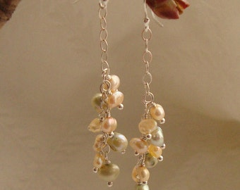 Handmade wire wrapped green, brown, and peach pearl cluster sterling silver dangle earrings