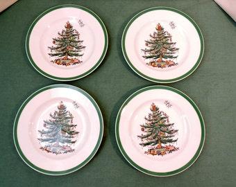 Spode Christmas Tree Salad Plates Set of 4