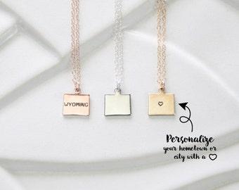 Wyoming State Charm Necklace, Wyoming Bracelet for Teen, Small Gold State Wyoming Necklace, Wyoming Jewelry, Jackson Hole, Yellowstone State