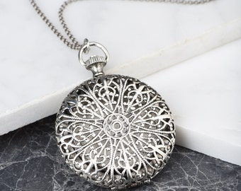 Silver Locket Filigree Necklace, Silver Floral Locket, Push Button Locket, Pill Box Necklace, Bohemian Locket, Chunky Silver Locket