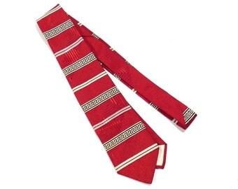 Roman Key Pattern Silk 1950s 1960s Vintage Tie Kitschy Pattern Mens Necktie - FREE Domestic Shipping
