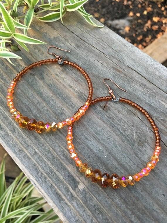 Beaded Hoop Earrings, Amber, Crystal Hoops, handmade hoops, sparkly, bohemian hoops