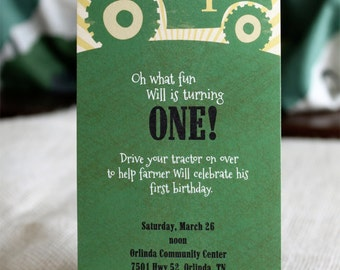 Big Green Tractor Printed Birthday Party Invitations, Little Boy birthday invites, Little Boy Farmer birthday, printed cards with envelopes