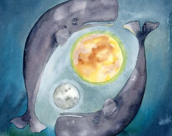 Whales and Worlds II, original watercolor