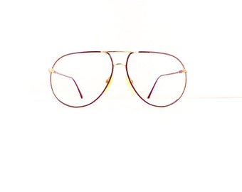 70s 80s Pierre Cardin Aviator Eyeglasses Unisex 1970's 1980's Burgundy with Gold Frames #M685 DIVINE