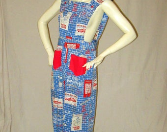 Incredible Novelty Print Vintage 60s Graffiti Wall Print Overalls Jumpsuit All In One 1960s Cotton  34 36 bust