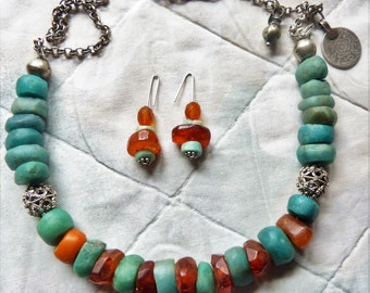 Antique Moroccan amber and amazonite beads necklace, 64 g, with earrings, Berber Jewelry, Morocco