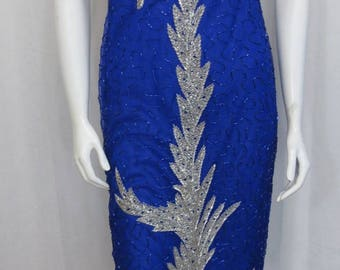 A Stunning Sapphire Blue and Silver Beaded Silk Prom Pageant Special occasion Gown From New Trends size M