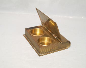 Vintage Mid Century Brass Box in the Shape of a Book Inkwell Rare Find, Rustic Double Ink Well Desk Accessory Vanity Jewelry Box Ring Holder
