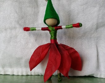 Christmas Fairy, Christmas Elf ornament - full poinsettia skirt, green elf hat