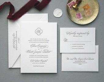 Letterpress Wedding Invitation - Lyon Design - Foil Stamping- Calligraphy,Traditional, Elegant, Simple, Classic, Script, Border, Monogram