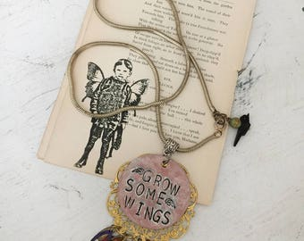 courage~upcycled stamped necklace, repurposed jewelry, upcycled jewelry, reclaimed necklace, boho chic, assemblage, hand stamped pendant