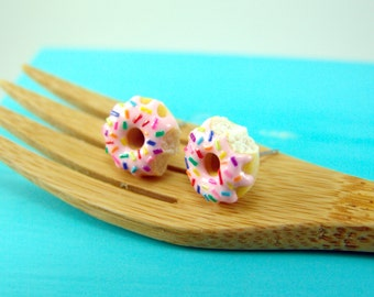 Pink Donut Earrings with Rainbow Sprinkles // MADE TO ORDER // Post Earrings // Mini Donuts Food Earrings