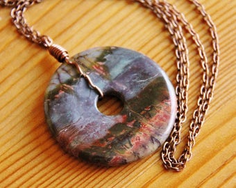 SALE Picasso jasper pendant necklace, picasso jasper necklace, organic necklace, statement necklace, natural stone necklace, earthy necklace